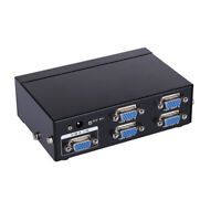 250Mhz 1 PC To 4 Port VGA Video Monitor Splitter Box with AC Adapter