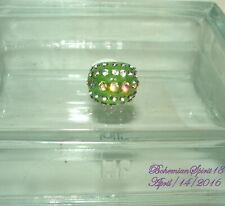 Vintage Style Awesome Green Rhinestone Dome shame Plastic Sz 7 Ring