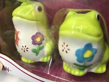 BOSTON WAREHOUSE SALT & PEPPER SHAKERS Flower Frogs Hand Painted NEW