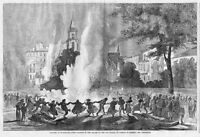 CHOLERA AT MARSEILLES 1865 FIRES LIGHTED TO DESTROY PESTILENCE OLD PALACE SQUARE