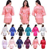 Women Satin Robe Kimono Bride Bridesmaid Wedding Party Gown Dressing Sleepwear