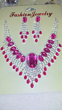 Pink Diamante Rhinestone crystal Necklace & earrings set wedding prom