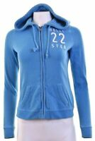 HOLLISTER Womens Hoodie Sweater Size 10 Small Blue Cotton  HA01