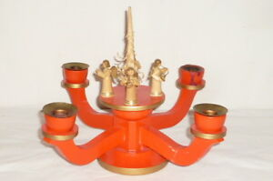 Age Erzgebirge Chandelier Wood Candle Holder Wooden Angel Figures Red Musician