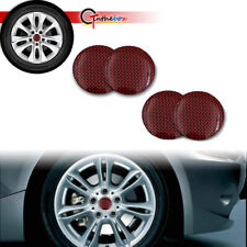 4pcs Red 56.5mm Carbon Fiber Style Car Wheel Center Hub Caps Stickers Cover Trim