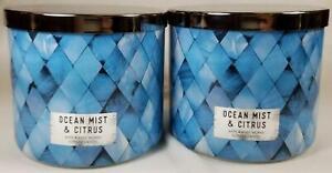 Bath Body Works Candle OCEAN MIST & CITRUS Scented 3-wick Jars x2 Wax