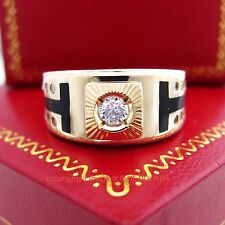 Genuine Solid 9K Yellow Gold Onyx Engagement Wedding Mens Ring Simulated Diamond