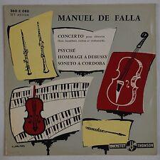 """MANUEL DE FALLA: Concerto Harpsichord, Violin, Cello GENDRE BEX French 10"""" LP"""