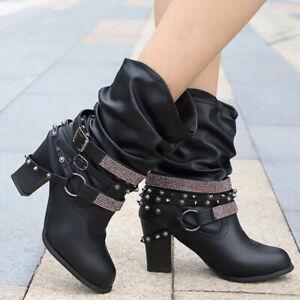 Metal Chains Rivet Motorcycle Boots Women Shoes Ankle Boots Punk Rock Biker Boot