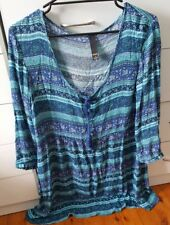 FACTORIE Maxi Dress Boho Beach Hippie Size L 12 14 Aqua Blue