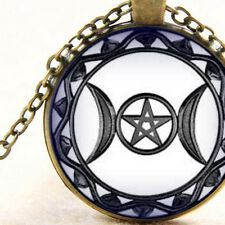 New Celtic Triple Moon Pentagram, Goddess Symbol Pendant Necklace, Pagan, Wiccan