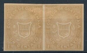 [34804] Guatemala 1871 Good imperforated pair Very Fine Mint no gum stamps