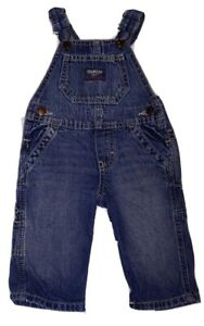 Baby Oshkosh B'gosh Blue Denim Jeans Carpenter  Vestbak Overalls 6M