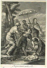 Simon Vallee's - FINDING MOSES ON THE NILE- Antique Copper Engraving - c1700