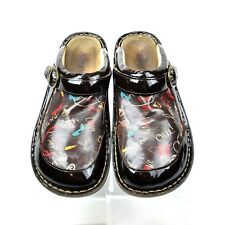 ALEGRIA Seville Frenchie -816 Women's Brown Patent Slip-on Clogs Euro 39 US 9
