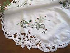 Vintage Style Hand Batten Lace Duck Embroidery White Cotton Table Topper 56cm