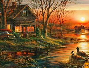 """Terry Redlin """"SHORELINE NEIGHBORS"""" Cabin 500 Pieces BOXLESS Jigsaw Puzzle *NEW*"""