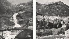 SWITZERLAND. Au Simplon. Cascade Près de Gondo; Village de Simplon 1900 print