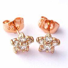 womens rose gold filled cute flower cubic zirconia stud earrings fashion jewelry
