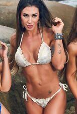 Brazilian Bikini Metallic Golden & OFF White Size M by Elemento Mar