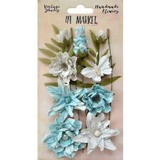 49 and Market Flowers Vintage Shades Cluster Blue 13 Handmade Pieces