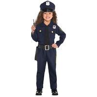 Childs Police Officer Fancy Dress Costume USA Cop Uniform Kids Boys Girls