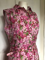 Vintage 1960s Medium Floral Pink Belted Theatre Mod Girly Costume Retro Dress