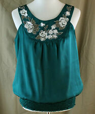 Cato, Medium, Pine Green Sleeveless Top with Sequin Floral Neckline