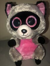 "TY beanie boo 9"" rocco pink and grey with pink glitter eyes"