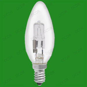 2x 18W (=25W) Dimmable Halogen Clear Candle Light Bulbs, SES E14 Lamps