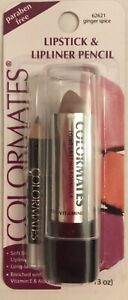 2 NEW COLORMATES LIPSTICK & LIPLINER PENCIL - GINGER SPICE 62621