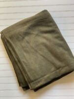 Vintage US Military Wool Blanket Olive Green 84 x 66 Field Bed Camping