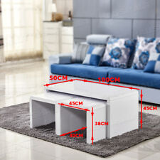 High Gloss Coffee Table Glass Top Square Nested of Table Side End Furniture New