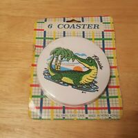 Vintage Vinyl Coasters - 1990's Florida Alligator Gators Palm Tree Sunset NOS