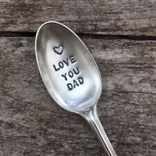 Love You Dad - Hand Stamped Antique Silver Plated Teaspoon Christmas Gift