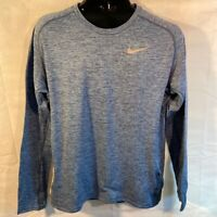 Nike Mens Activewear Long Sleeve Top Shirt Blue Heathered Crew Neck Raglan L New