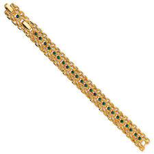 "Gold-Plated Jackie Kennedy Rope Link Green  Swarovski Elements Bracelet 7"" + 1"""