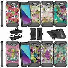 For Samsung Galaxy J3 (2017) Shockproof Dual Layer + Stand Holster Case Flowers
