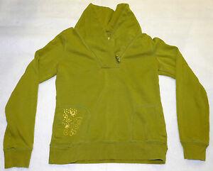 Merona Womens Avocado Green Long Sleeve Sweatshirt Heart Swirls Small Top Shirt
