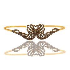 Pave Set Diamond Heart Design Cuff Bangle Bracelet 18K Gold Over Silver Jewelry