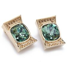 Earrings clip made with large Swarovski crystal Emerald & 16 small Champagne