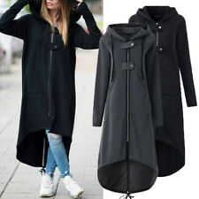 Womens Plus Size Hooded Coat Long Jacket Long Pocket Winter Outwear Windbreaker
