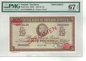 NORTHERN IRELAND P# 244s 1961-65 5 POUNDS SPECIMEN PMG 67 EPQ SUPERB GEM UNC