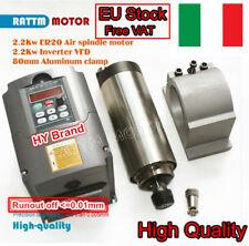 2.2KW Air Cooled Spindle Motor ER20 24000RPM & Inverter VFD& 80mm Clamp CNC Kit