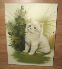 """B. Harris Signed 16"""" x 12"""" Rectangle Beautiful White Cat Canvas Painting Only"""