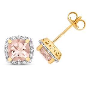 9ct Yellow Gold 0.16ct Diamond & Cushion Cut Pink Morganite 6mm Stud Earrings