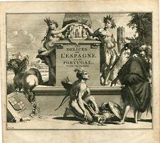 Grabado portada les delices de l'Espagne et du Portugal tome 3 van der Aa, 1715