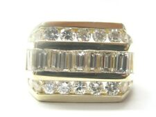 18KT Round & Baguette Diamond Jewelry Ring Yellow Gold 3.05CT