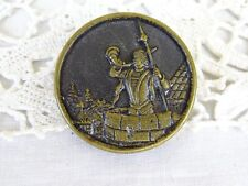 Large Antique French Brass/Metal Picture/Story Button - Medieval Man