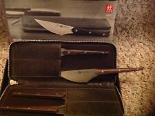 ZWILLING J.A. Henckels 4-pc Gentlemen's Steak Knife Set w/Leather Case New